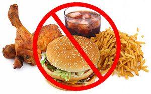 вредная еда перечёркнутая знаком стоп