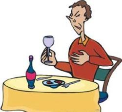 Много выпитого вина может вызвать изжогу