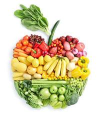 овощи и фрукты выложены в форме яблока
